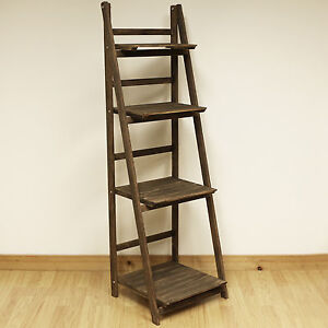 4 TIER BROWN LADDER SHELF DISPLAY UNIT FREE STANDING/FOLDING BOOK STAND/SHELVES