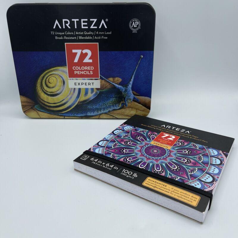 Arteza Mandala Coloring Set, Colored Pencils 72 Book With Unique Designs
