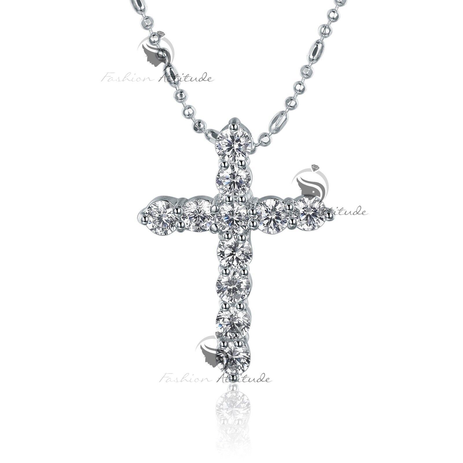 18k white gold gf made with swarovski crystal cross pendant necklace 18k white gold gf made with swarovski crystal cross pendant necklace aloadofball Choice Image