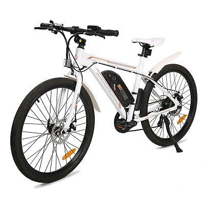 "26"" 350W White Electric Bicycle E-Bike Mountain Sport Lithium Battery 7 Speed"