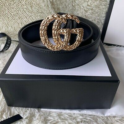 Classic Genuine Gucci Double GG Gold Buckle Belt