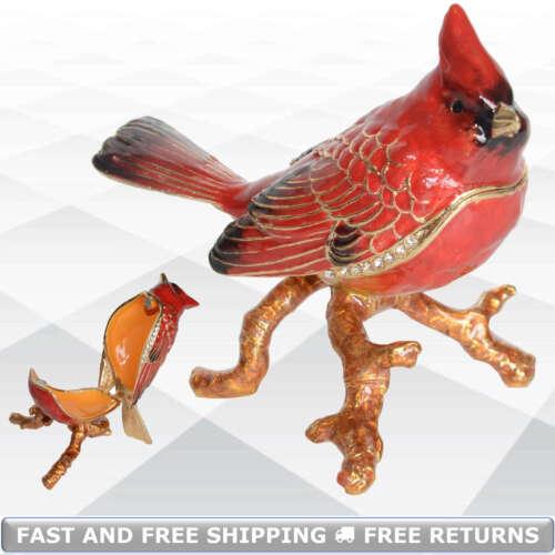 Cardinal Bird Pewter Jewelry Trinket Box With Hinged Lid Enamel Jeweled Crystals