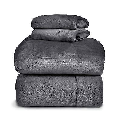 Fleece Pillowcase (SPYDER Insulated Warm Fleece Flannel Plush Sheet Set, Pillow Case, Flat & Fitted )