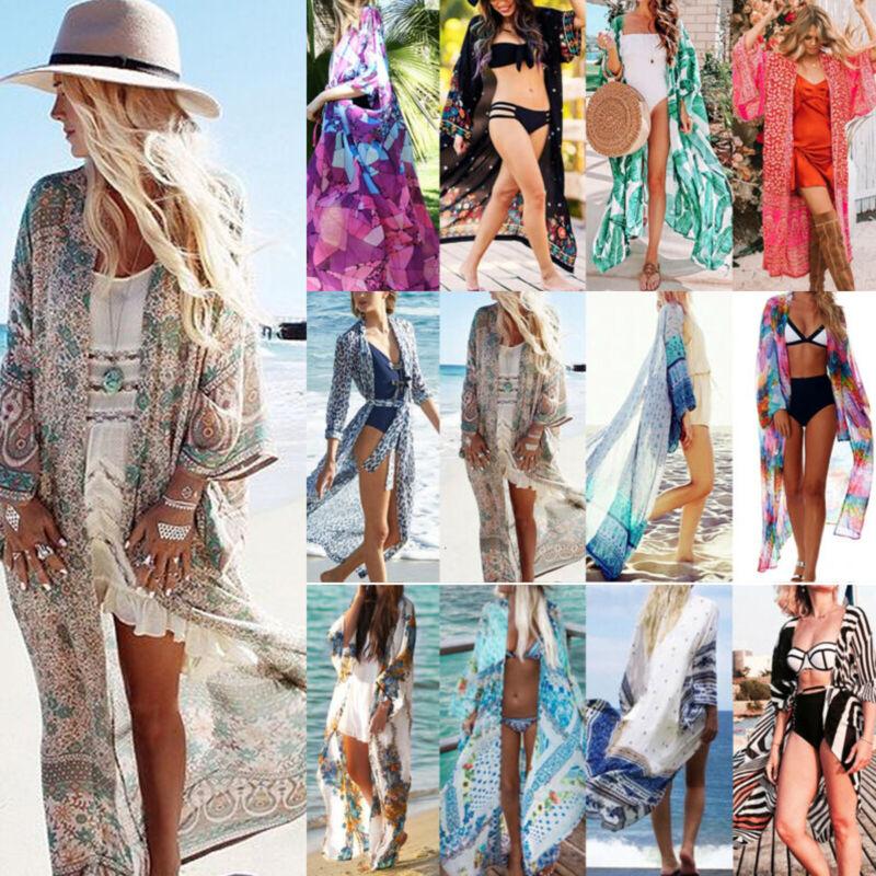 Damen Lang Maxi Vertuschen Bikini Cover Up Bademantel Kaftan Strandkleidung BOHO