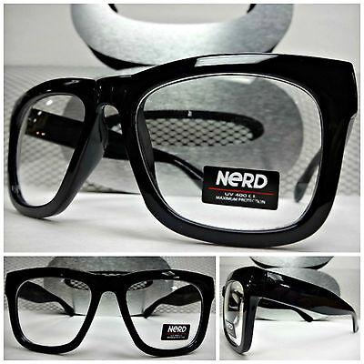 Männer oder Frauen Retro Nerd Klare Gläser Brillen Dick Schwarz Mode Rahmen