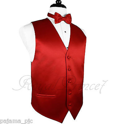 Red Solid Vest Waistcoat and Butterfly Bow Tie Suit or Tuxedo Wedding Party 10-F - Vest Bow Tie