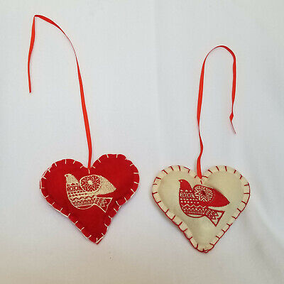 Heart Shaped Ornaments (NEW FABRIC FELT RED & BEIGE HEART SHAPED ORNAMENTS SET OF 2)