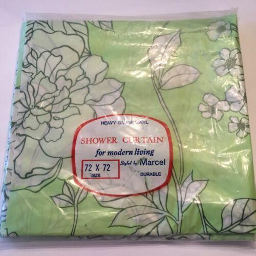 Vtg Marcel Vinyl Shower Curtain Pale Green & White Floral Flowers 72x72 60s-70s