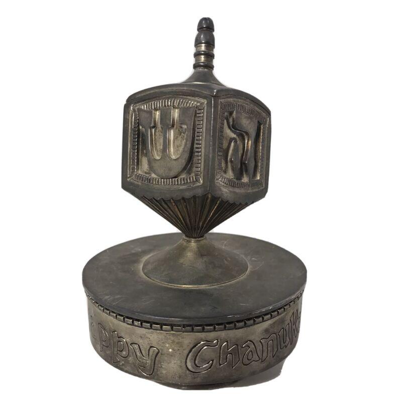"Vintage Godinger Silver Plate ""Happy Chanukah"" Spinning Dreidel 6"" x 4"" on Stand"