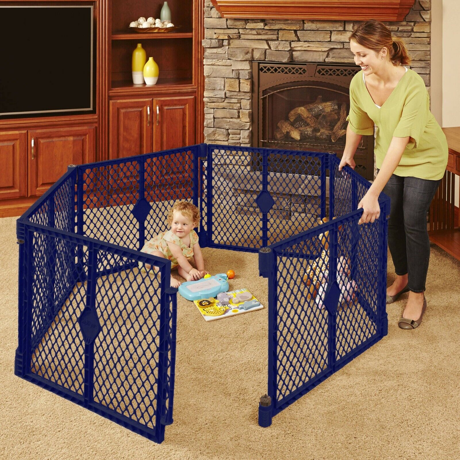 6 panel navy portable indoor outdoor baby