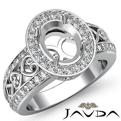 Diamond Engagement Filigree Ring Oval Semi Mount Halo Pave Set Platinum 0.75Ct
