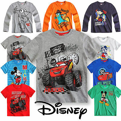 Boys Disney T Shirt Kids Top Mickey Mouse Cars Short Long Sleeve New Age 3 -10
