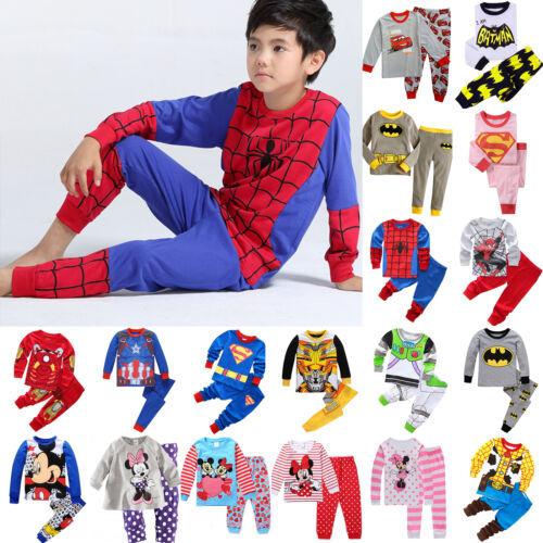 2PCS Kids Cartoon Spiderman Pajamas For Boys Outfit Xmas Sle
