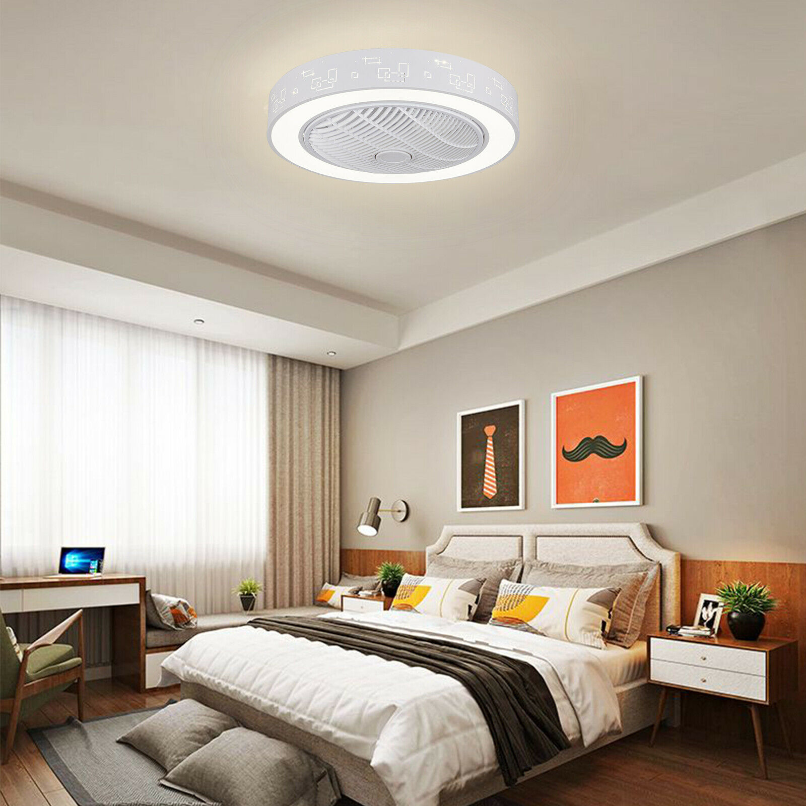 23 Constellation Flush Mount Ceiling Fan W/Dimmable LED Light Remote Control - $113.11