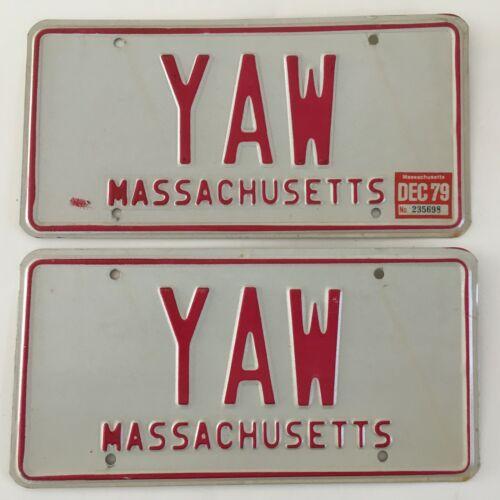 Vanity License Plate YAW Sailing PAIR Massachusetts Plates Sail Boat Boating VG
