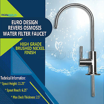 Brushed Nickel Euro Designer RO Water Faucet for Any RO Unit + FREE SHIPPING