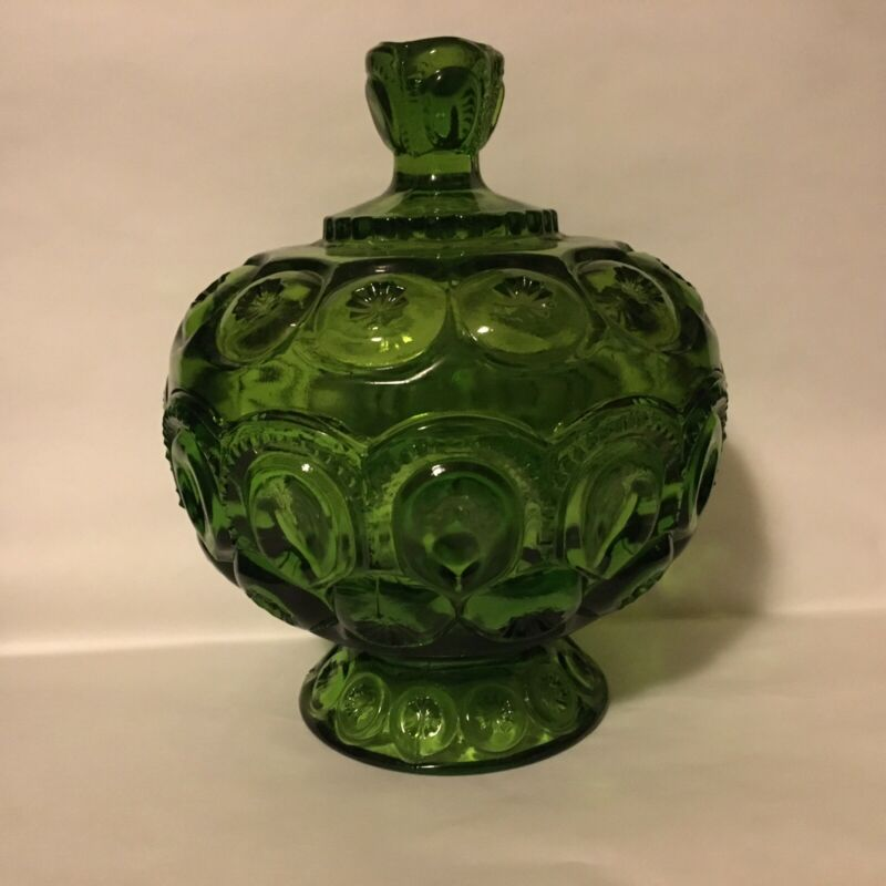 """Vintage LE Smith Glass Moon And Stars Compote Green Lidded Candy Dish 8"""""""
