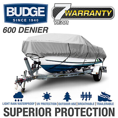 Budge 600 Denier Waterproof Boat Cover | Fits Center Console V-hull | 5 (V-hull Center Console)