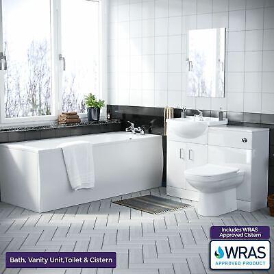 3 piece Bathroom Suite Back To Wall Toilet Basin Vanity Unit and Bath | Laguna