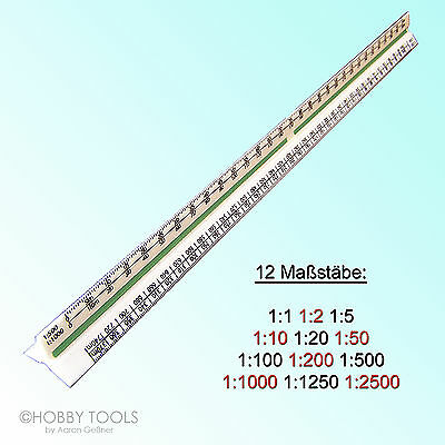 Maßstab-Lineal 30 cm Maßstabs-Lineal Dreikant-Lineal Reduktion Maßstabslineal
