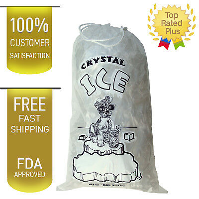 10 LB LBS 1.5 Mil Plastic Commercial Ice Bag Bags With Cotton Drawstring 100 PCs 10 Lb Ice Bags