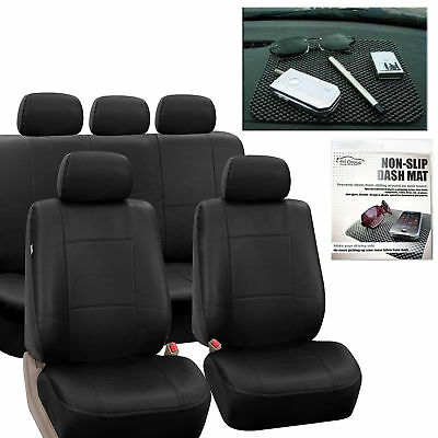 Faux Leather Car Seat Covers Classic  Set Black Free Gift Dash Grip Pad