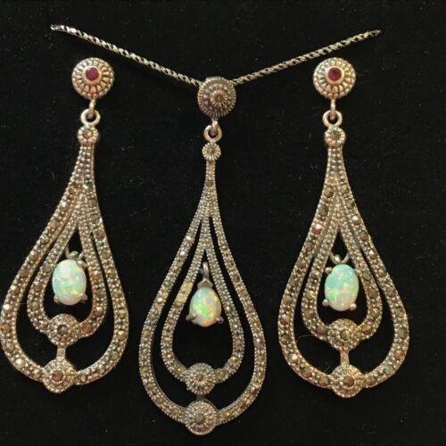 Vintage Sterling Silver Marcasite Ruby & Opal Chandelier Earrings & pendant set