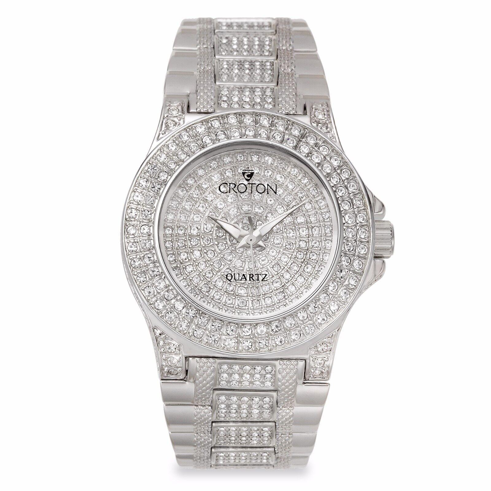 croton watch croton women s cn207538rhpv balliamo rhodium crystal accents quartz dress watch