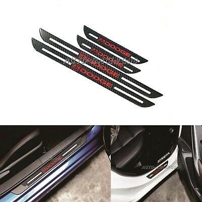 4Pcs DODGE Carbon Fiber Car Door Welcome Plate Sill Scuff Cover Panel Sticker