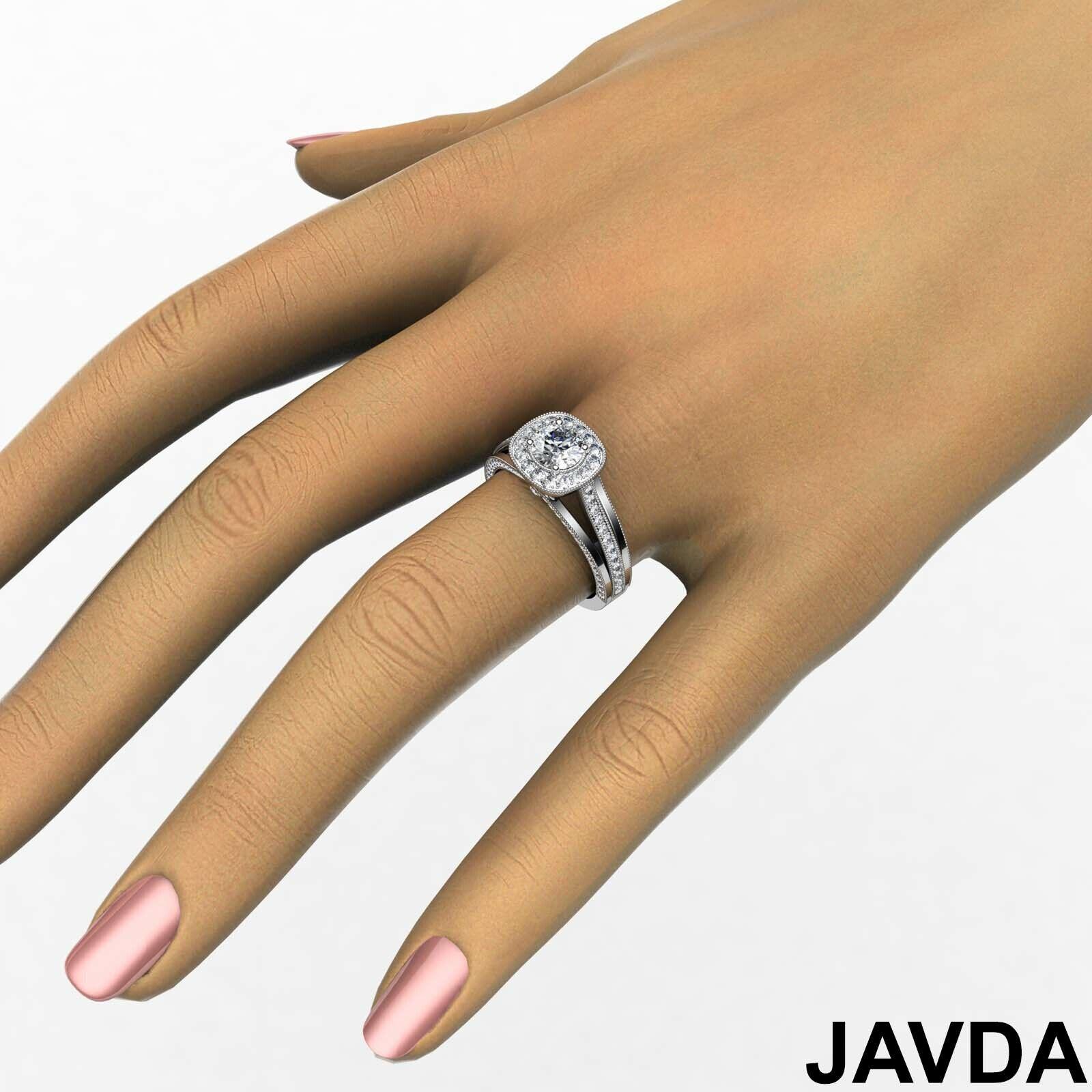 1.6ctw Bridge Accent Round Diamond Engagement Ring GIA E-VVS2 White Gold Rings 3