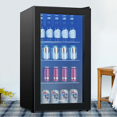 120 Cans 3.1 Cu.ft. Beverage Soda Beer Bar Mini Fridge Cooler Glass Door Black