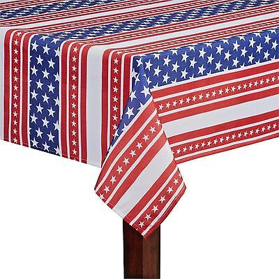 Asstd Sizes Red White & Blue US Flag American Stars & Stripes Fabric Tablecloth - Blue Fabric Tablecloth