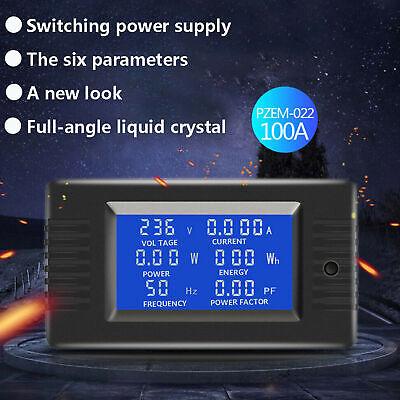 Digital Power Watt Meter Monitor Voltage Wh Voltmeter Ammeter 100a Ac Lcd Panel