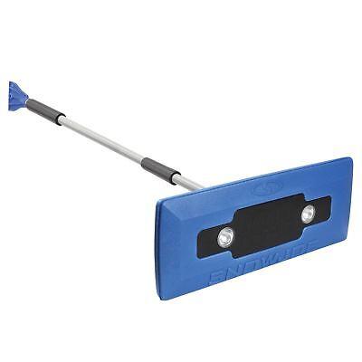 Snow Joe 4-In-1 Telescoping Snow Broom + Ice Scraper   18-Inch   Headlights Blue