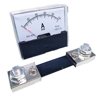 Us Stock Analog Panel Amp Current Ammeter Meter Gauge Dh-670 0-100a Dc Shunt
