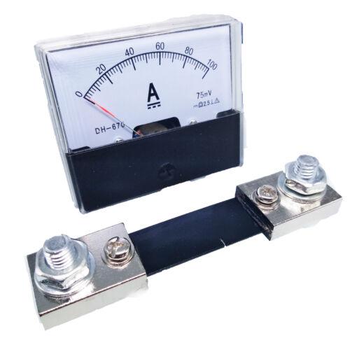 US Stock Analog Panel AMP Current Ammeter Meter Gauge DH-670 0-100A DC & Shunt