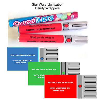 Star Wars LIGHTSABER Valentine Sweetarts Candy Wrappers Birthday Party Favors