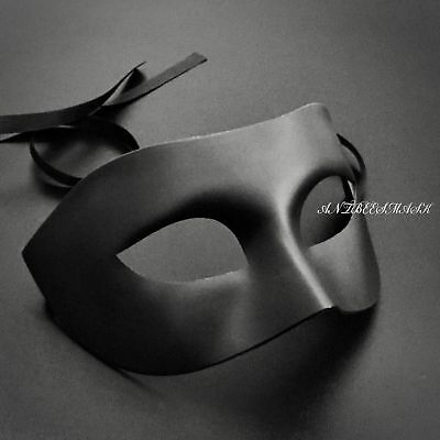 Black Compact No Deco Male Masquerade Halloween Party Mask (Male Halloween Masks)