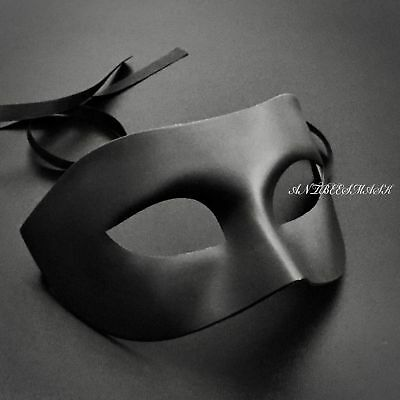 Male Masks (Black Compact No Deco Male Masquerade Halloween Party)