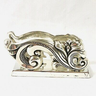 Brighton Silver Desk Business Card Holder Display Ornate Flourish Metal 3.75 In