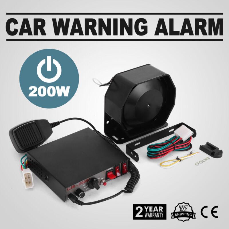 200W 8 Sound Loud Car Warning Alarm Police Fire Siren Horn PA Speaker MIC System