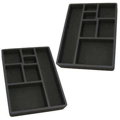 2 Drawer Organizers For Desk Black Insert Home Or Office 7 Slot 15.9 X 11.9