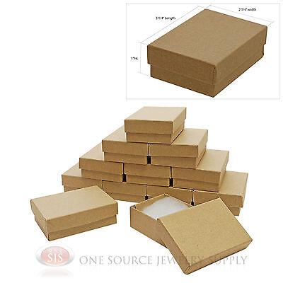 12 Brown Kraft Cotton Filled Jewelry Gift Boxes 3 14 X 2 14 Bracelet Box