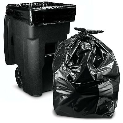 64-65 Gallon Trash Bags for Toter, (50 Case w/Ties) Large Black Garbage Bags,...