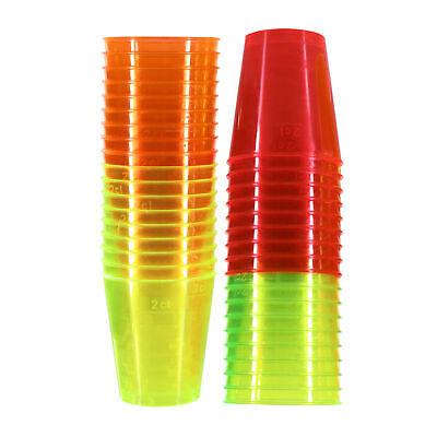 72 X Neón Vasos de Chupito Plástico Marcadas 3cl 30ml Color Brillante...