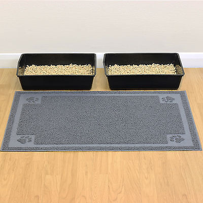 Extra Large Cat/Kitten Grey Litter Tray Floor Mat XL Paw Cleaning/Anti Tracking