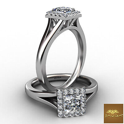 Split Shank Halo Princess Diamond Engagement French U Pave Ring GIA D SI1 0.7Ct