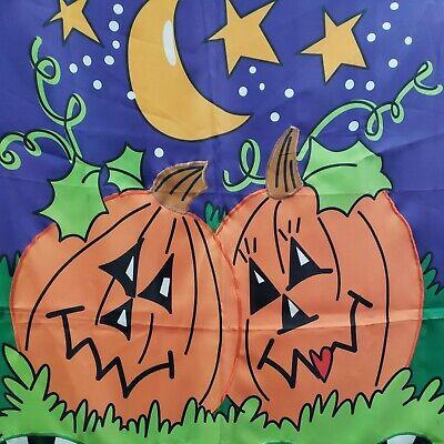 """Halloween Welcome Garden Flag Pumpkins Wall Hanging Joanne Sharpe 27x40"""""""