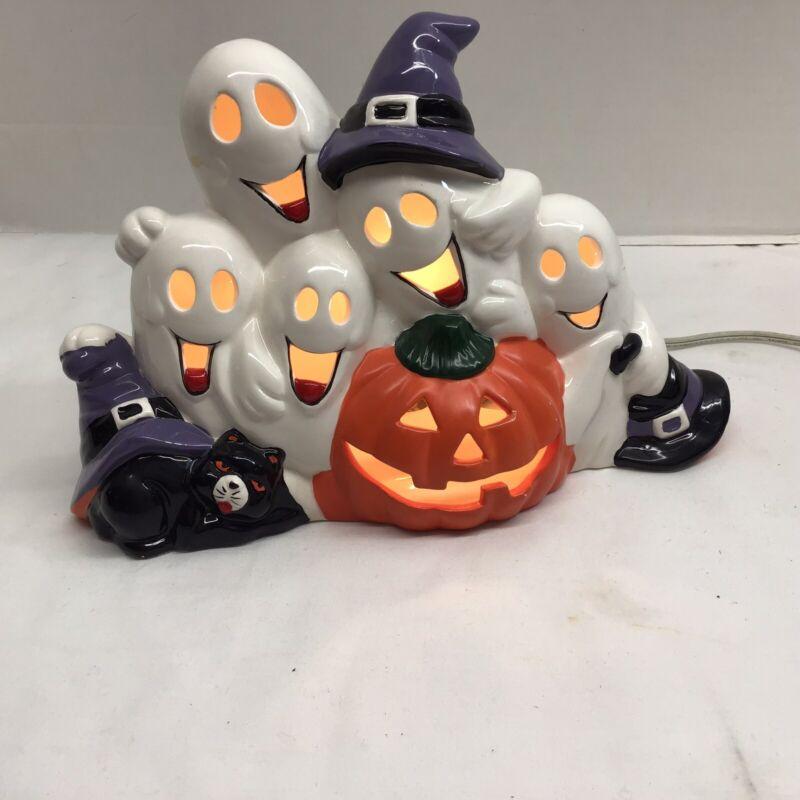 Lighted Ceramic Halloween Haunted Pumpkin Friendly Ghosts Black Cat
