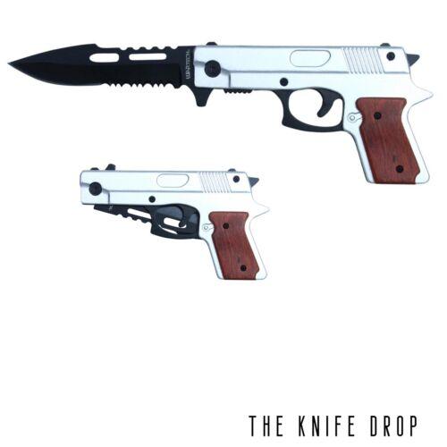 "9""  Silver Assisted Hand Pistol Gun Folding Pocket Knife"